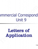Commercial Correspondence unit 9: Application Letter